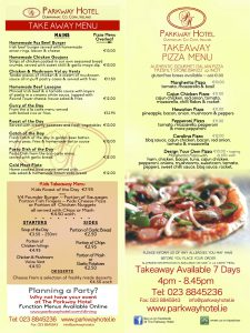 Take away pizza menu
