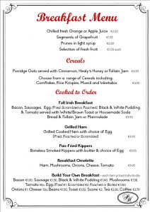 breakfast menu list